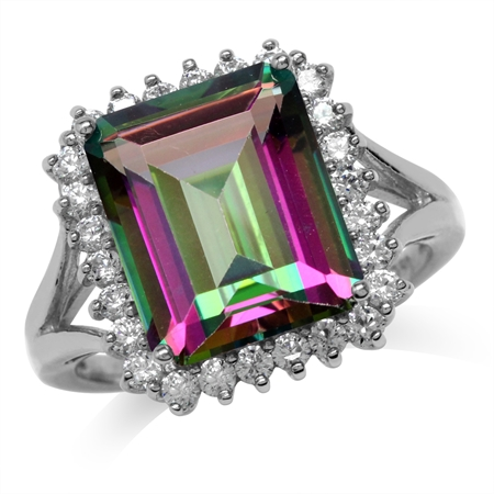 7.64ct. 12x10MM Octagon Shape Mystic Fire Topaz White Gold Plated 925 Sterling Silver Cocktail Ring