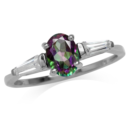 Oval Shape Mystic Fire Topaz White Gold Plated 925 Sterling Silver Ring