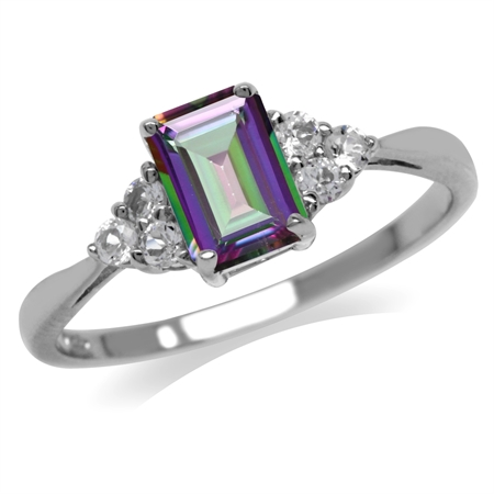 1.15ct. Mystic Fire Topaz White Gold Plated 925 Sterling Silver Engagement Ring