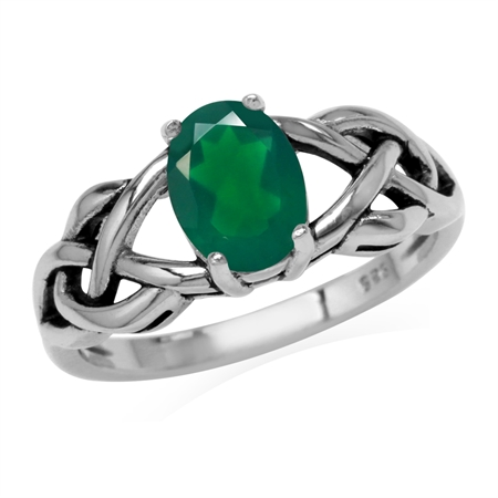 1.12ct. Natural Emerald Green Agate 925 Sterling Silver Celtic Knot Solitaire Ring