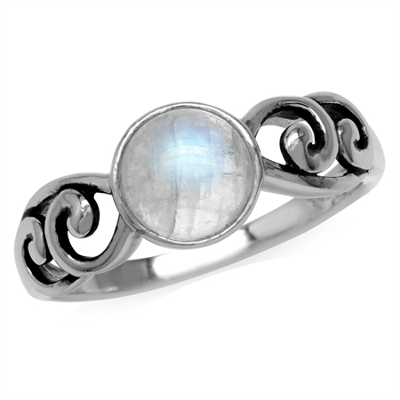 Natural Moonstone 925 Sterling Silver Filigree Swirl & Spiral Ring
