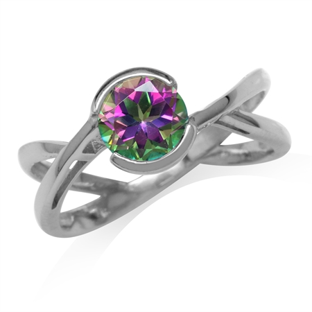 1.66ct. 7MM Round Shape Mystic Fire Topaz White Gold Plated 925 Sterling Silver Modern Ring
