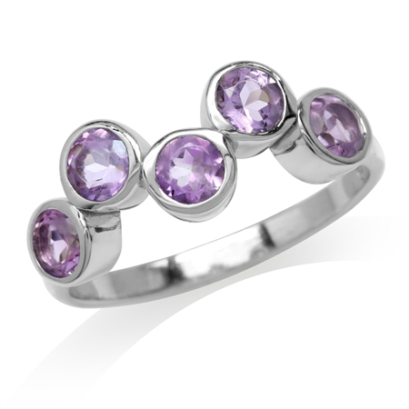 1.15ct. 5-Stone Natural Amethyst White Gold Plated 925 Sterling Silver Bezel Set Ring