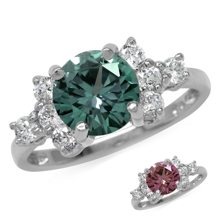 Round Shape Simulated Color Change Alexandrite & White CZ 925 Sterling Silver Ring