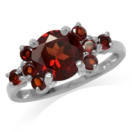 2.86ct. Natural Round Shape Garnet White Gold Plated 925 Sterling Silver Ring