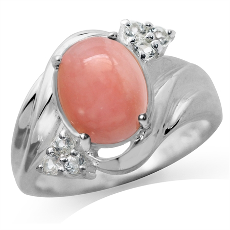 Genuine Pink Opal & White Topaz Gold Plated 925 Sterling Silver Glamorous Ring