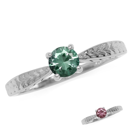 5MM Round Simulated Color Change Alexandrite White Gold Plated 925 Sterling Silver Engagement Ring