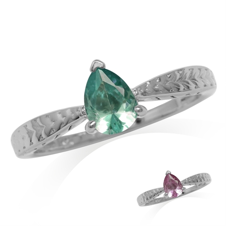 Pear Shape Simulated Color Change Alexandrite White Gold Plated 925 Sterling Silver Engagement Ring