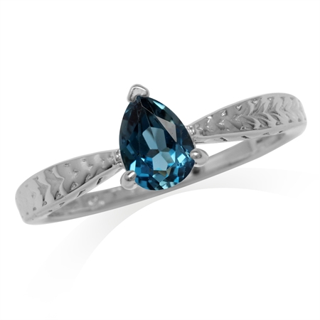 Genuine Pear Shape London Blue Topaz White Gold Plated 925 Sterling Silver Engagement Ring