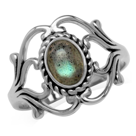Labradorite 925 Sterling Silver Victorian Style Rope Ring