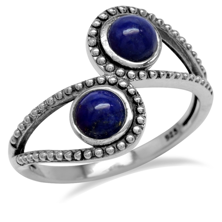 Genuine Lapis 925 Sterling Silver Bali/Balinese Style Bypass Ring