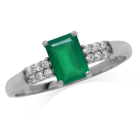 Natural Octagon Shape Emerald Green Agate White Gold Plated 925 Sterling Silver Engagement Ring