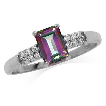 1.16ct. Octagon Shape Mystic Fire Topaz White Gold Plated 925 Sterling Silver Engagement Ring