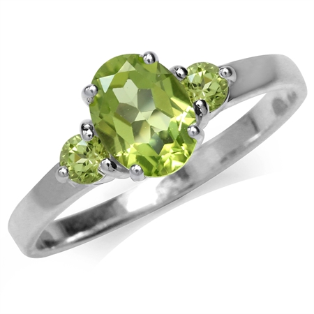 1.65ct. Natural Peridot White Gold Plated 925 Sterling Silver Engagement Ring