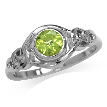 Natural Peridot White Gold Plated 925 Sterling Silver Celtic Knot Ring