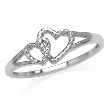 White Gold Plated 925 Sterling Silver Twin Heart Knot Casual Love Ring