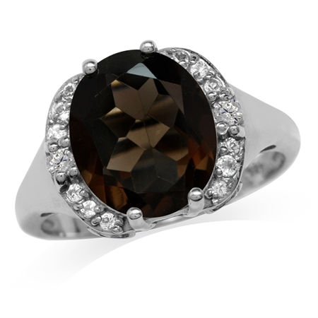 4.14ct. 12x10MM Natural Oval Shape Smoky Quartz White Gold Plated 925 Sterling Silver Classic Ring