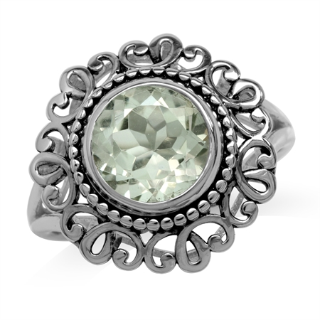 3.3ct. 10MM Natural Round Shape Green Amethyst 925 Sterling Silver Filigree Balinese Style Ring