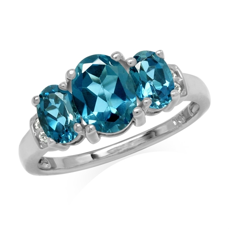 2.6ct. 3-Stone Genuine Oval Shape London Blue Topaz White Gold Plated 925 Sterling Silver Ring