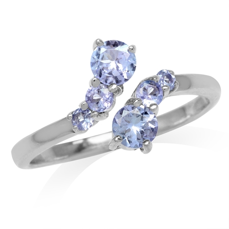 Genuine Tanzanite White Gold Plated 925 Sterling Silver Graduated Bypass Ring