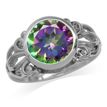 3.79ct. 10MM Round Shape Mystic Fire Topaz White Gold Plated 925 Sterling Silver Filigree Ring