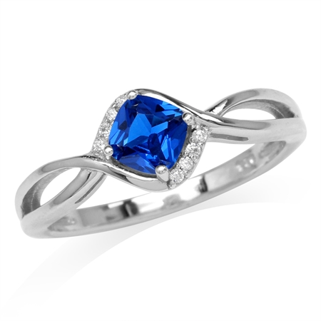 Cushion Shape Synthetic Sapphire Blue & White CZ Gold Plated 925 Sterling Silver Engagement Ring