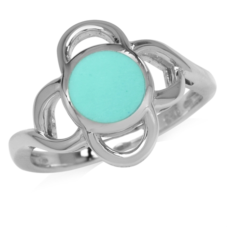 7MM Created Green Turquoise Inlay White Gold Plated 925 Sterling Silver Flower Ring