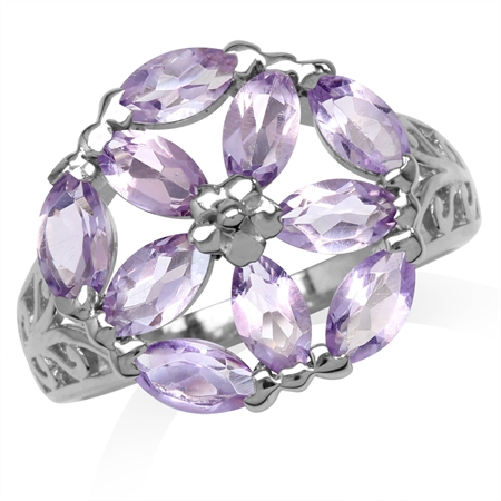 2.4ct. Natural Marquise Shape Amethyst White Gold Plated 925 Sterling Silver Filigree Flower Ring