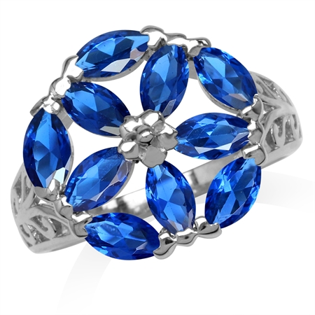 Marquise Shape Synthetic Sapphire Blue White Gold Plated 925 Sterling Silver Filigree Flower Ring