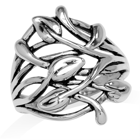 925 Sterling Silver Filigree Leaf Vintage Inspired Ring