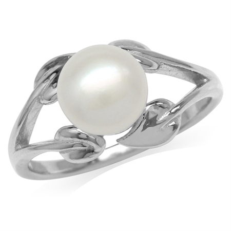 8MM Cultured Freshwater Pearl White Gold Plated 925 Sterling Silver Leaf Ring