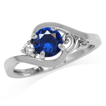 Synthetic Sapphire Blue & White CZ Gold Plated 925 Sterling Silver Engagement Ring