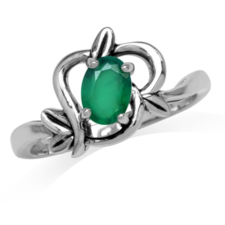 Natural Oval Shape Emerald Green Agate 925 Sterling Silver Leaf Vintage Inspired Ring