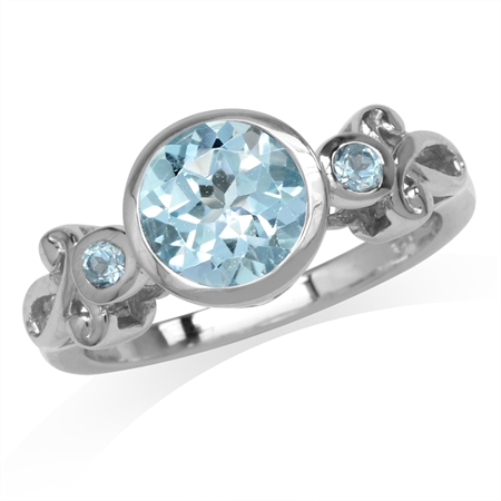 2.49ct. 8MM Genuine Round Shape Blue Topaz White Gold Plated 925 Sterling Silver Swirl Ring