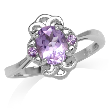 1.22ct. Natural Amethyst White Gold Plated 925 Sterling Silver Filigree Ring