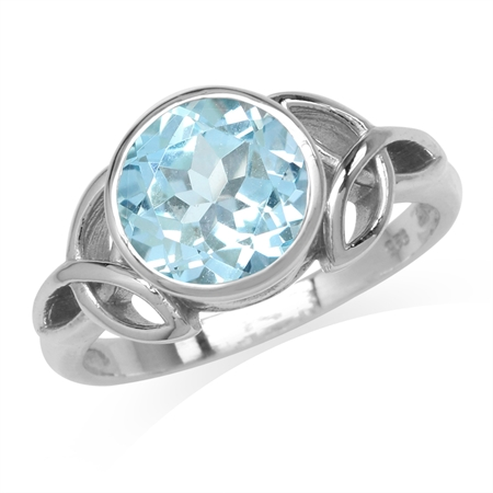 3.21ct. 9MM Genuine Round Shape Blue Topaz 925 Sterling Silver Triquetra Celtic Knot Ring