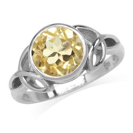 2.43ct. 9MM Natural Round Shape Citrine 925 Sterling Silver Triquetra Celtic Knot Ring