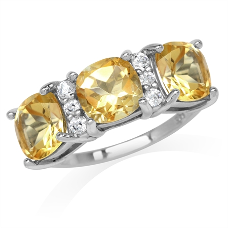 4.02ct. 3-Stone Natural Cushion Shape Citrine White Gold Plated 925 Sterling Silver Ring