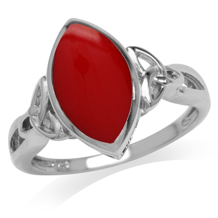 Created Red Coral Inlay White Gold Plated 925 Sterling Silver Triquetra Celtic Knot Solitaire Ring
