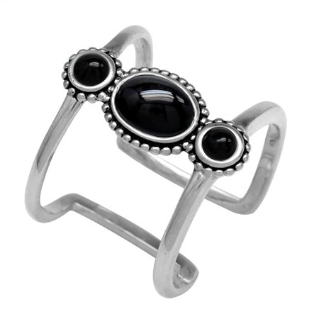 3-Stone Created Black Onyx 925 Sterling Silver Bali/Balinese Style Cuff Ring