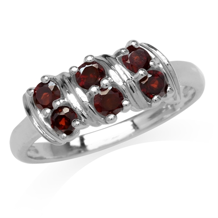 Natural Garnet Double Row White Gold Plated 925 Sterling Silver Ring