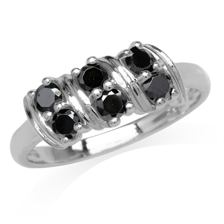 Natural Black Spinel Double Row White Gold Plated 925 Sterling Silver Ring