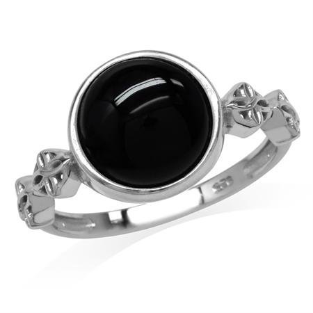 Created Black Onyx White Gold Plated 925 Sterling Silver Flower Celtic Knot Ring