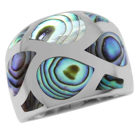Abalone/Paua Shell Inlay White Gold Plated 925 Sterling Silver Dome Ring