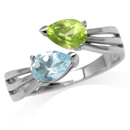 Natural Pear Shape Peridot & Blue Topaz White Gold Plated 925 Sterling Silver Bypass Ring