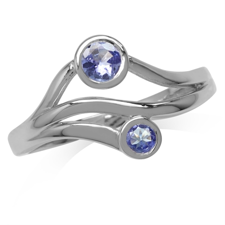 Genuine Tanzanite White Gold Plated 925 Sterling Silver 3-Line Modern Ring