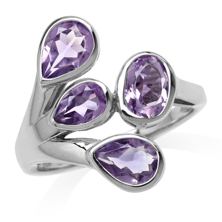 2.38ct. Natural Amethyst White Gold Plated 925 Sterling Silver Cluster Ring