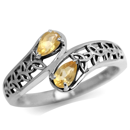 Natural Citrine 925 Sterling Silver Filigree Triquetra Celtic Knot Bypass Ring