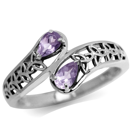 Natural Amethyst 925 Sterling Silver Filigree Triquetra Celtic Knot Bypass Ring