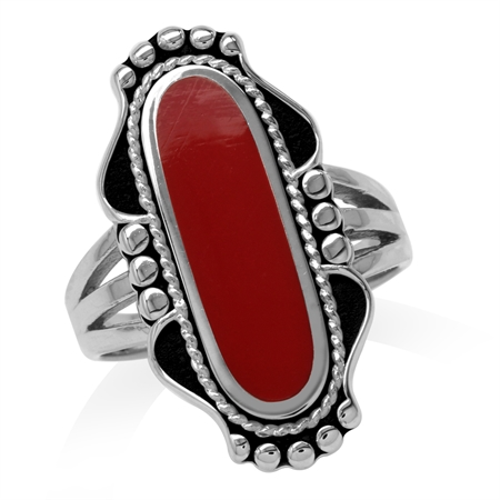 Long Created Red Coral Inlay 925 Sterling Silver Baroque Inspired Ring
